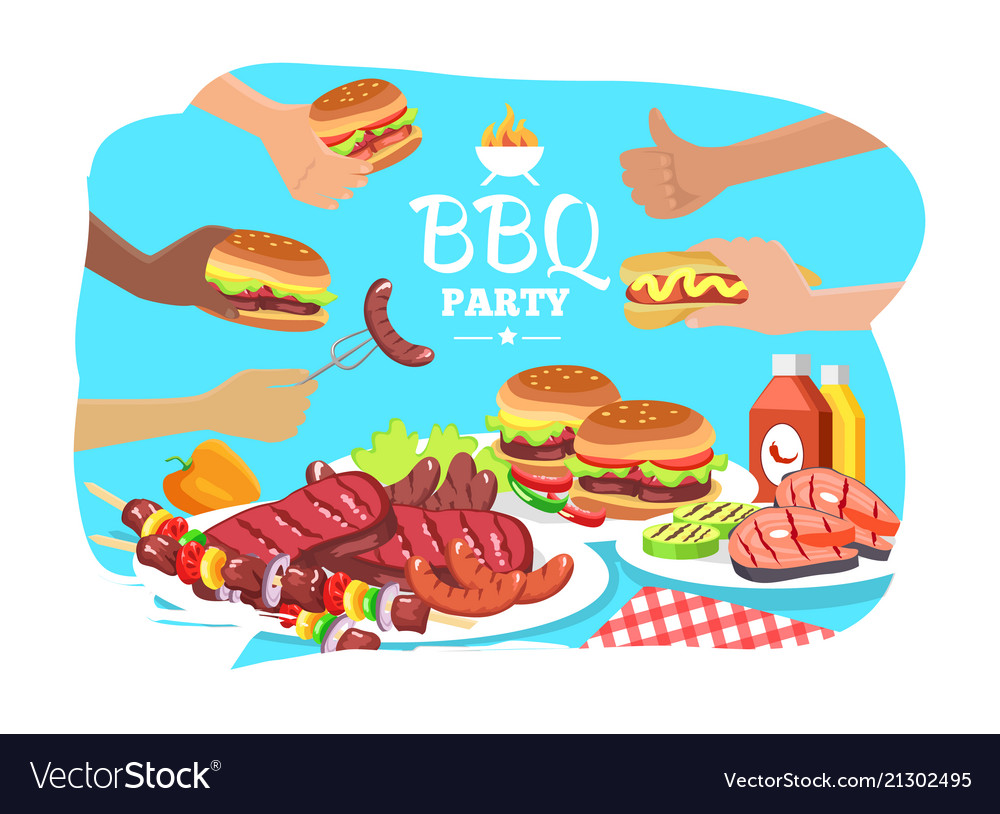 Bbq party poster colorful
