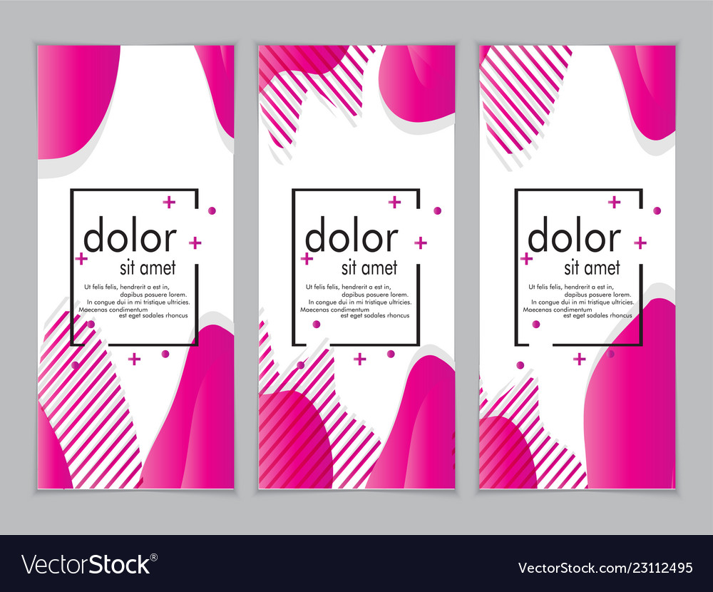 Creative fluid style poster set dynamic shapes on