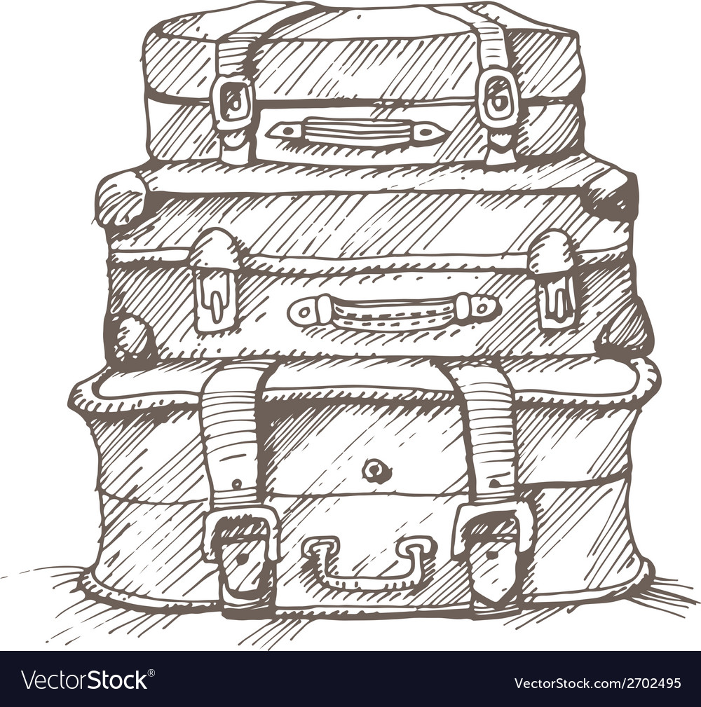 Hand drawn stack of suitcases