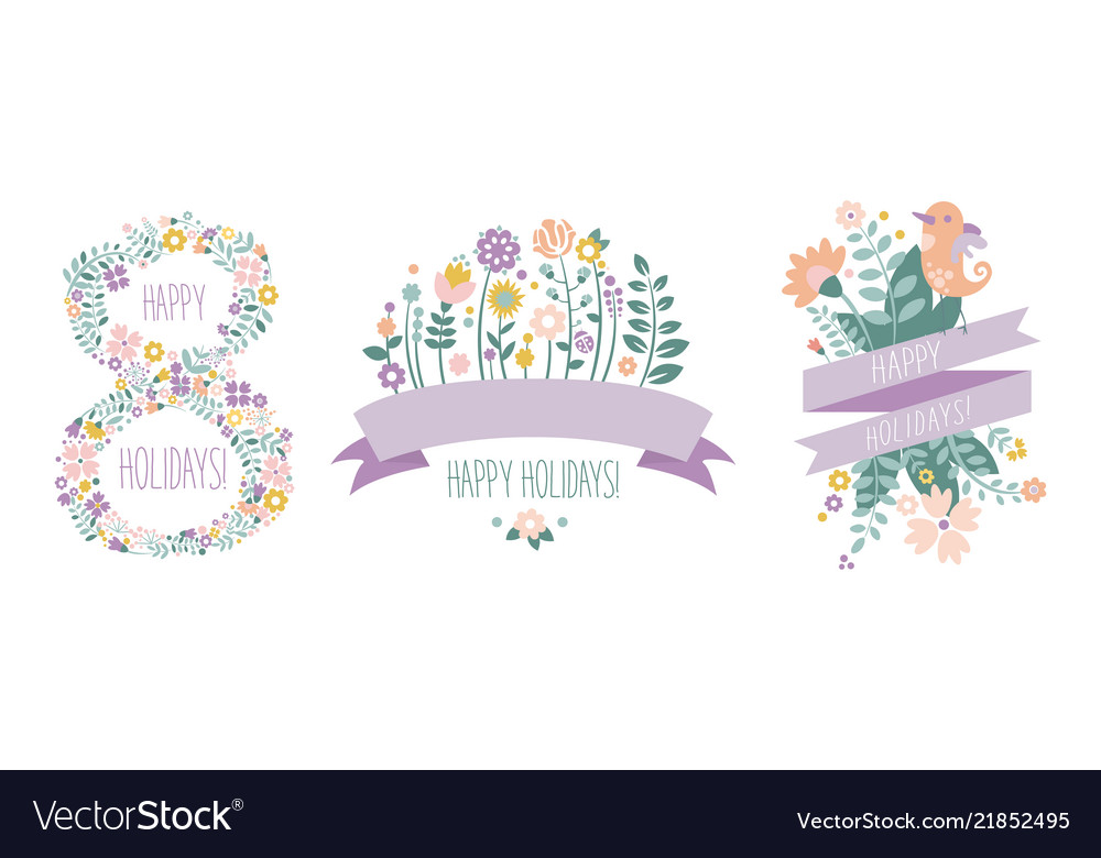 Happy holidays lettering 8 march floral design