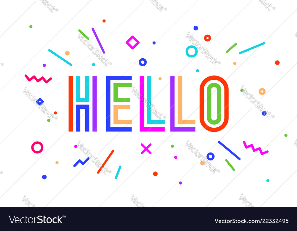 Hello banner speech bubble poster and sticker