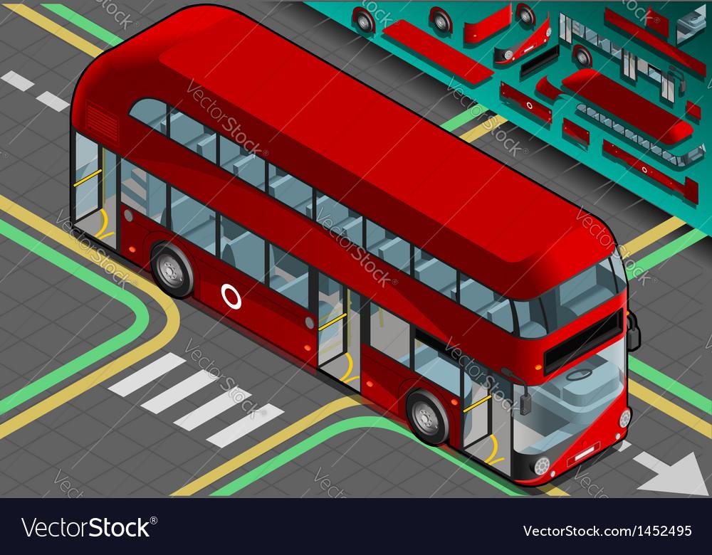 Isometric Double Decker Bus with Open Doors