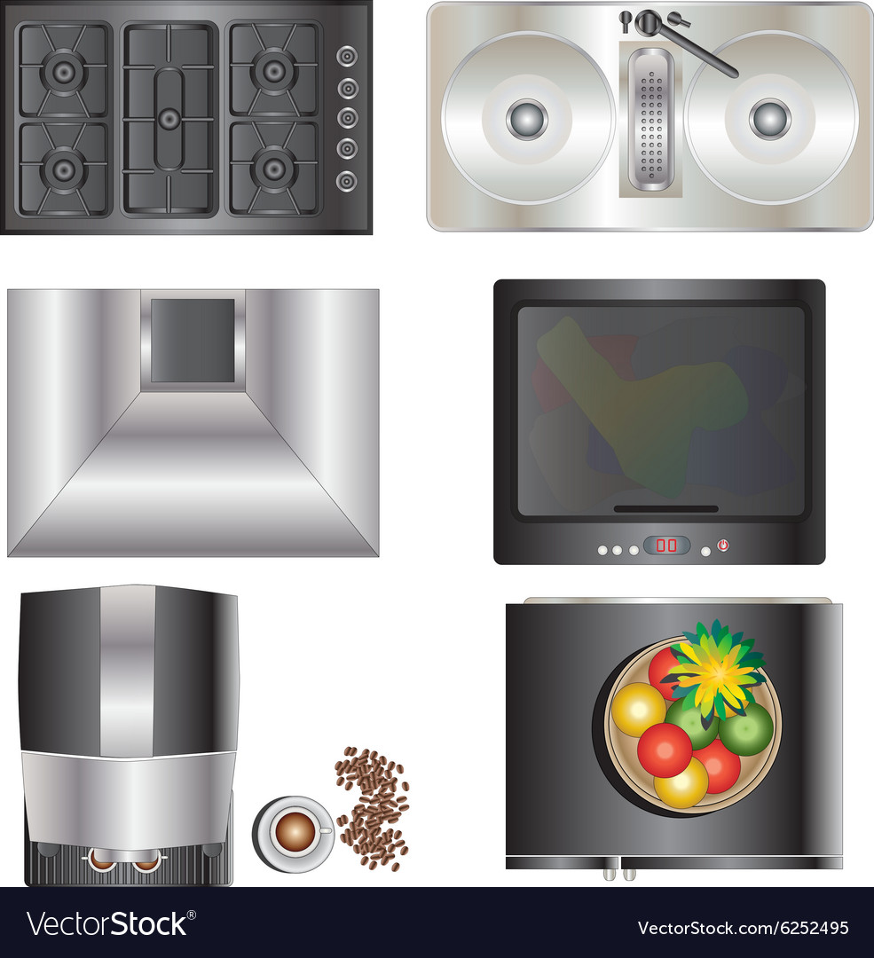 Kitchen Set Top View: Kitchen Equipment Top View Set 9 Royalty Free Vector Image