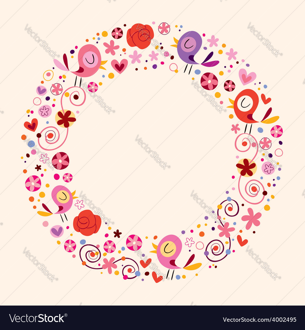 Love birds and flowers nature circle frame border vector image
