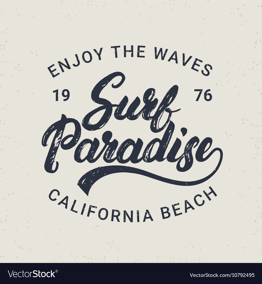 Surf paradise hand written lettering typography