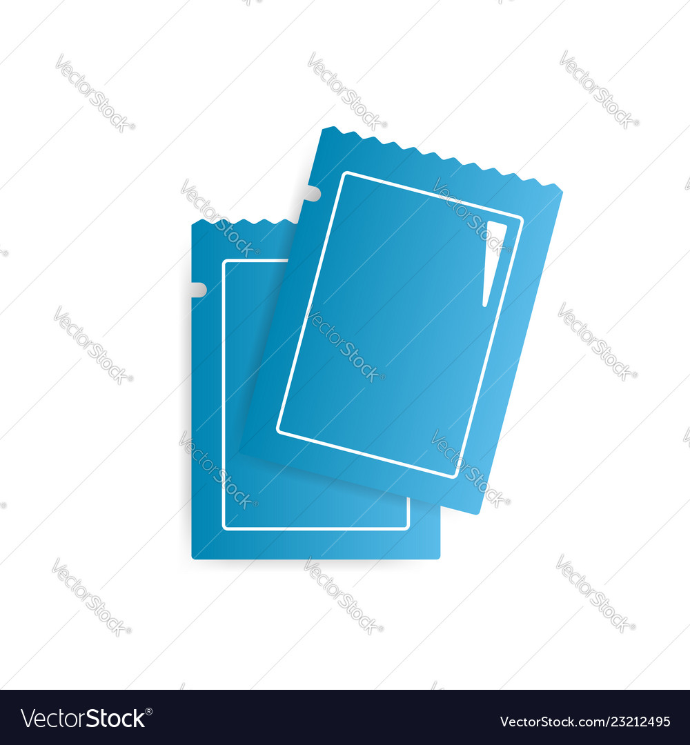 Two blank blue glossy sachets icon