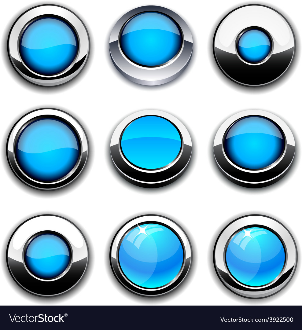 Aqua round buttons with chrome borders vector image