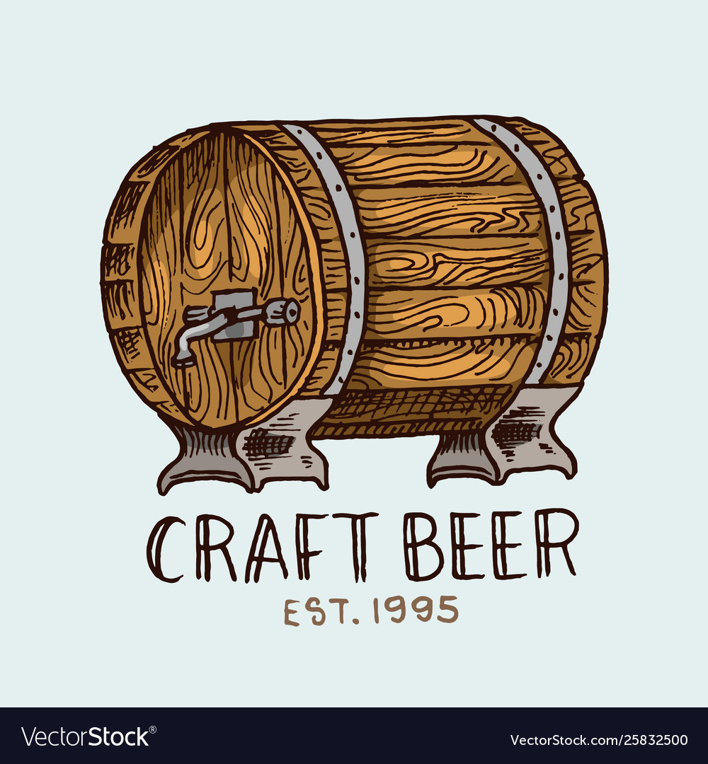 Beer barrel in vintage style alcoholic label