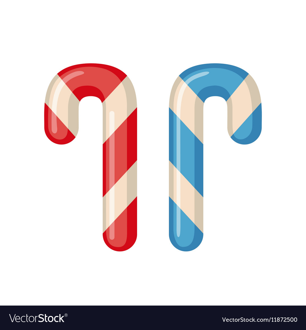 Candy cane icon in flat style