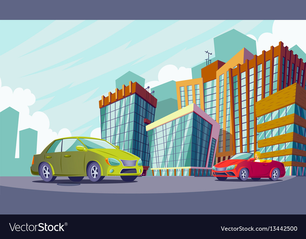Cartoon of an urban landscape