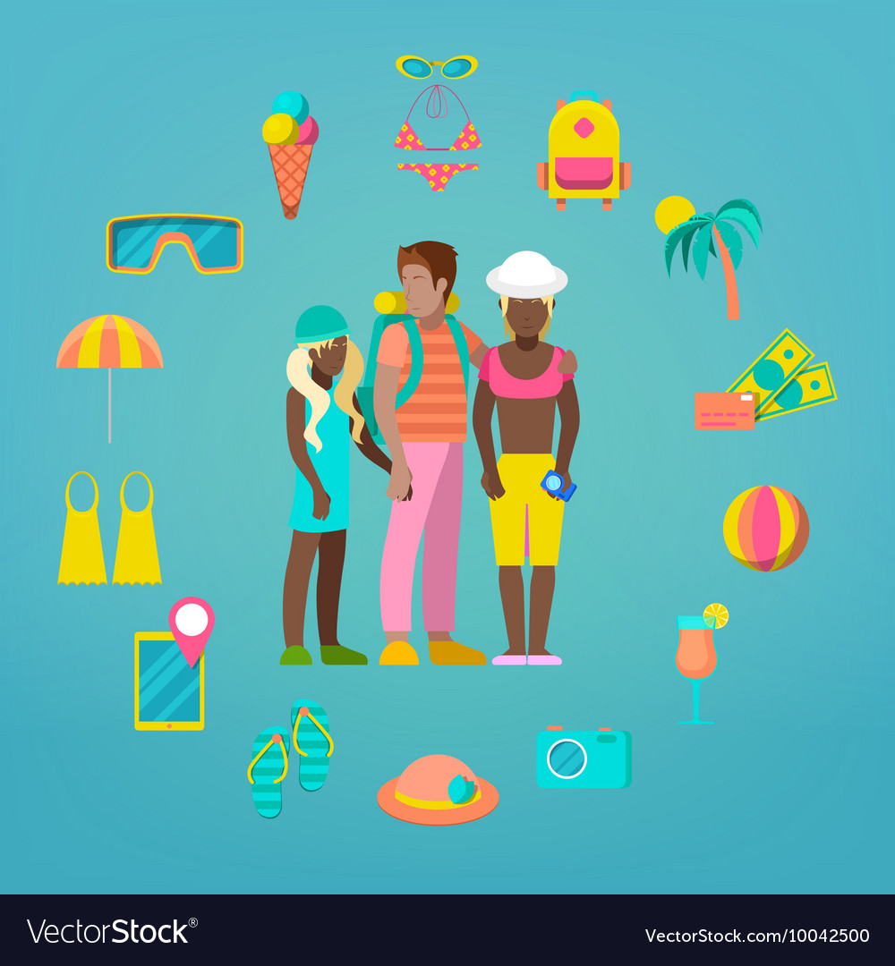 Family Travel Tourism Icons Set with Tourist