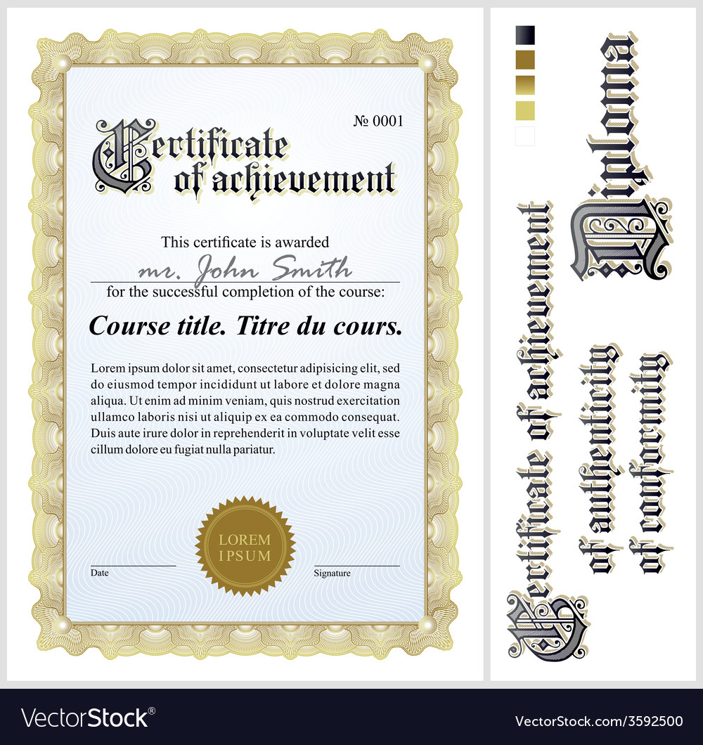 Gold Certificate Template Vertical Royalty Free Vector Image