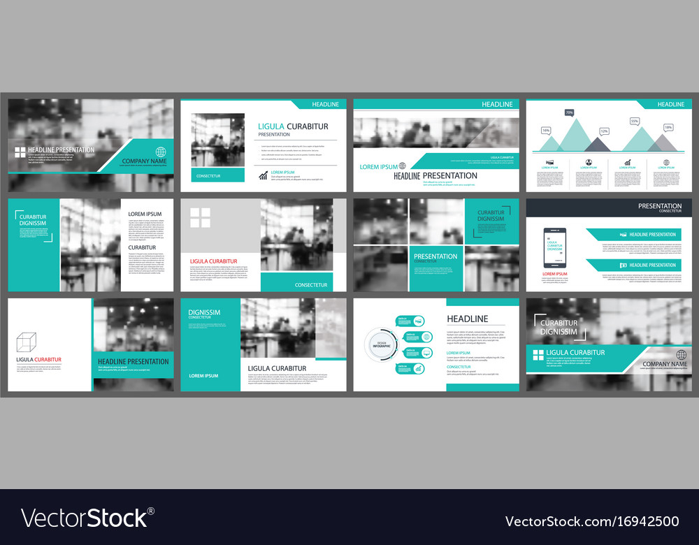 Green presentation templates and infographics