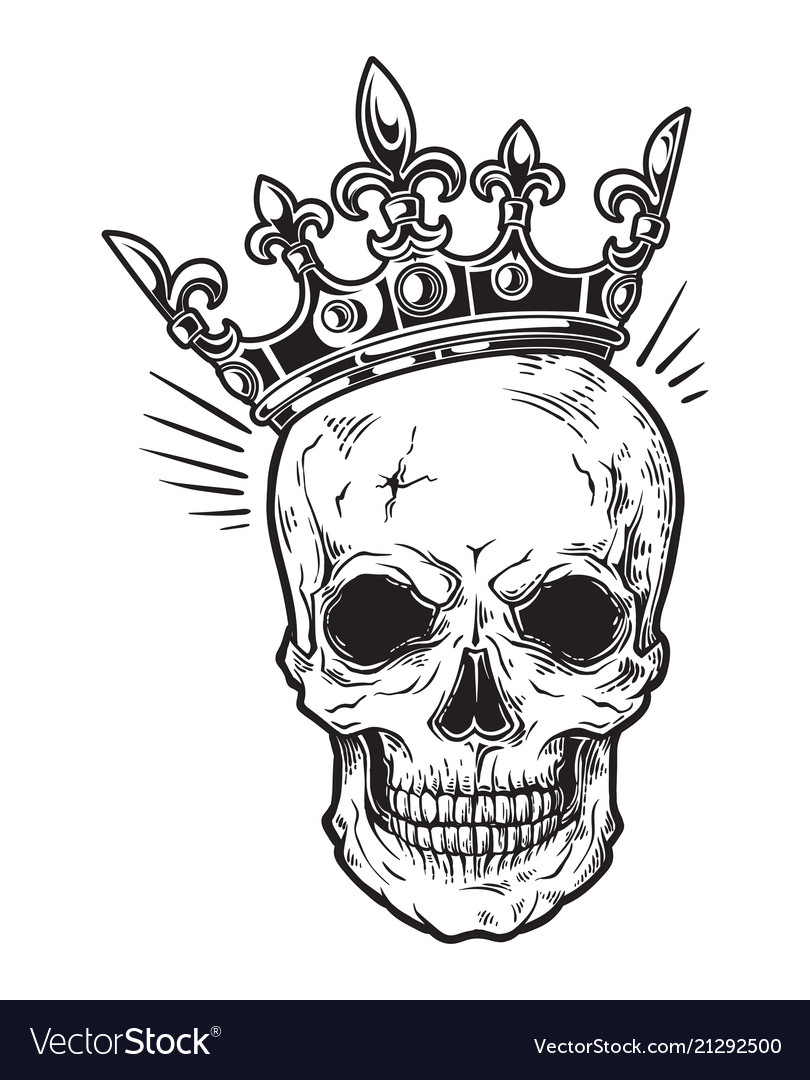 Human skull with crown for tattoo design