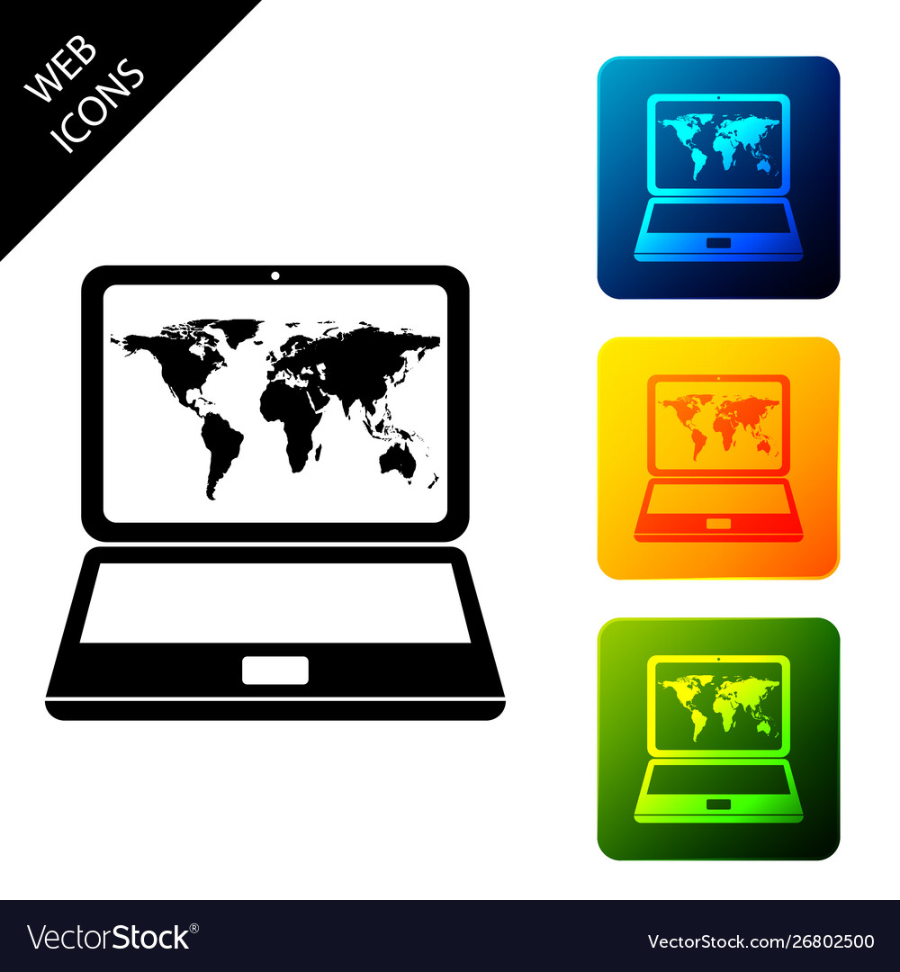 Laptop with world map on screen icon isolated on