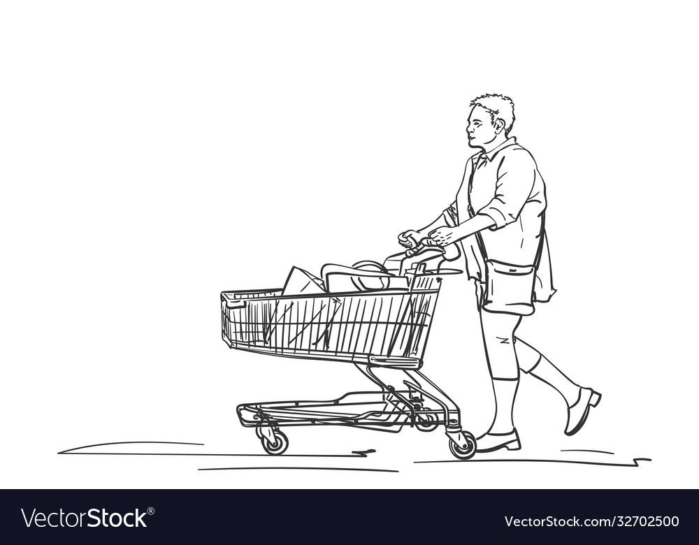 Mature woman walking with supermarket cart after