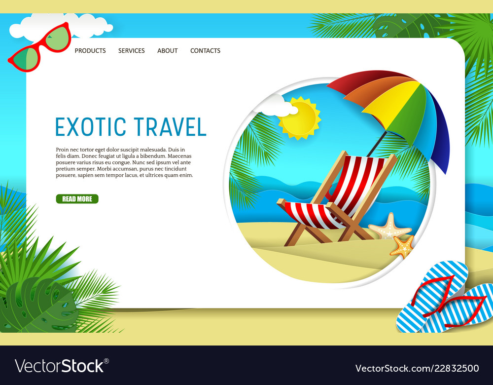 Paper cut exotic travel landing page