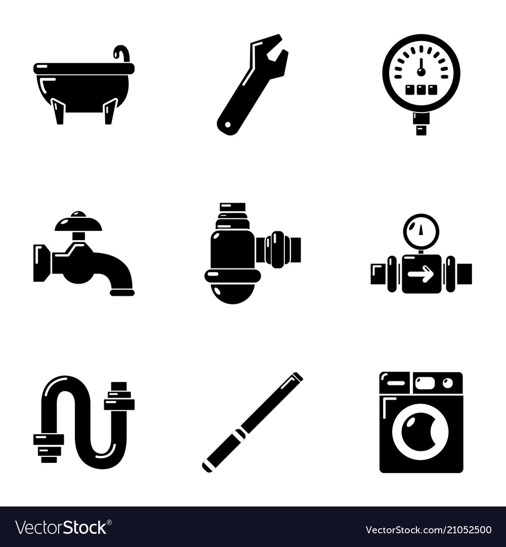 Plumbing icons set simple style