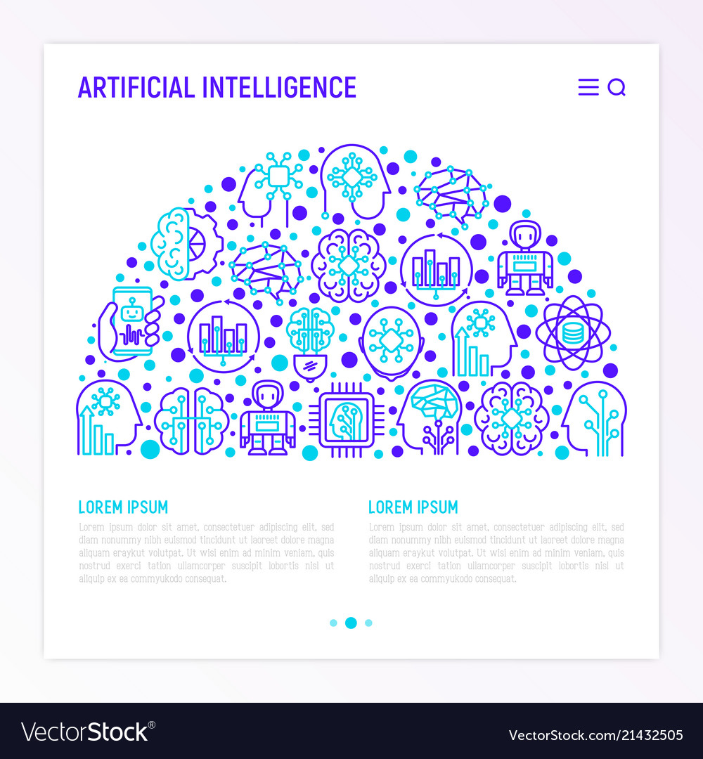 Artificial intelligence concept in half circle