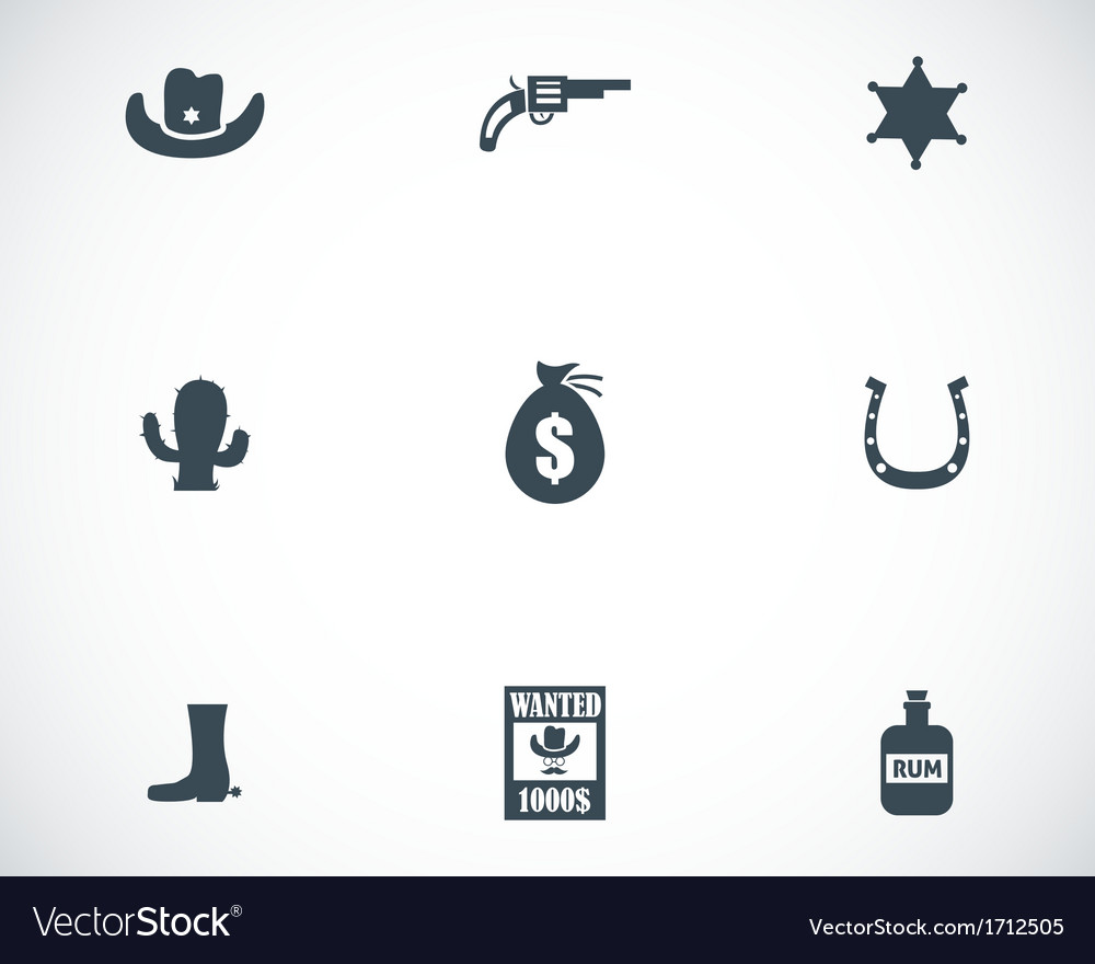 Black wild west icons set