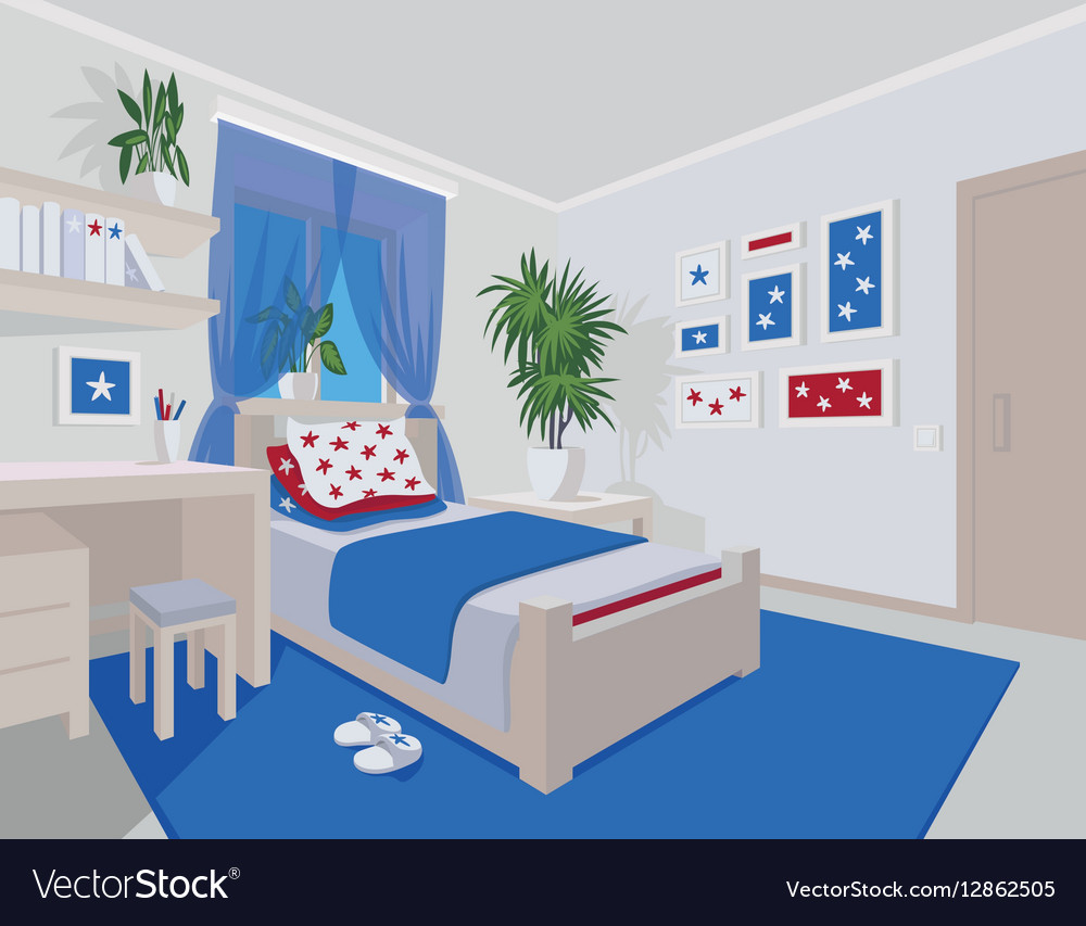 Colorful interior of bedroom in flat cartoon style