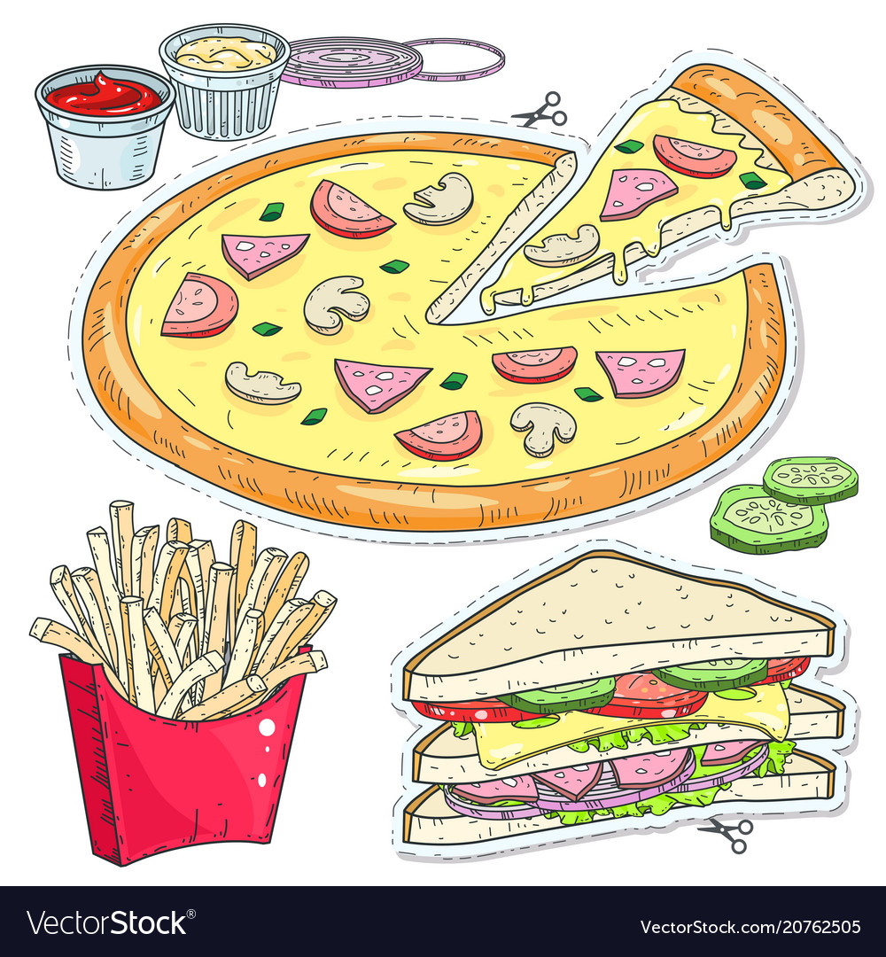Comic style colorful icons set fast food pizza