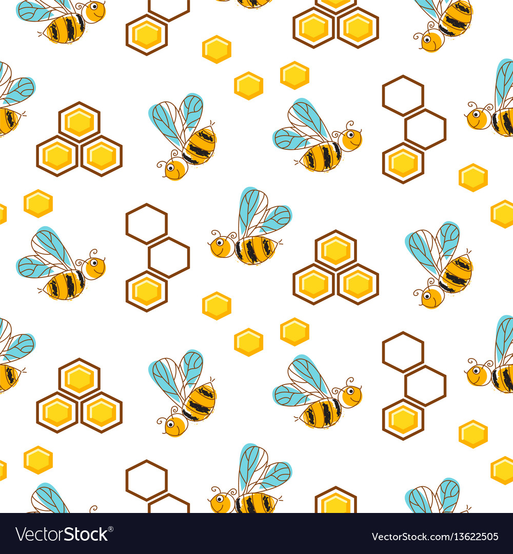 Cute bees and honey comb cells seamless pattern