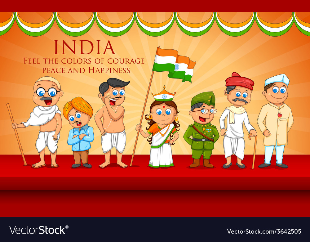 Kids in fancy dress of Indian freedom fighter vector image