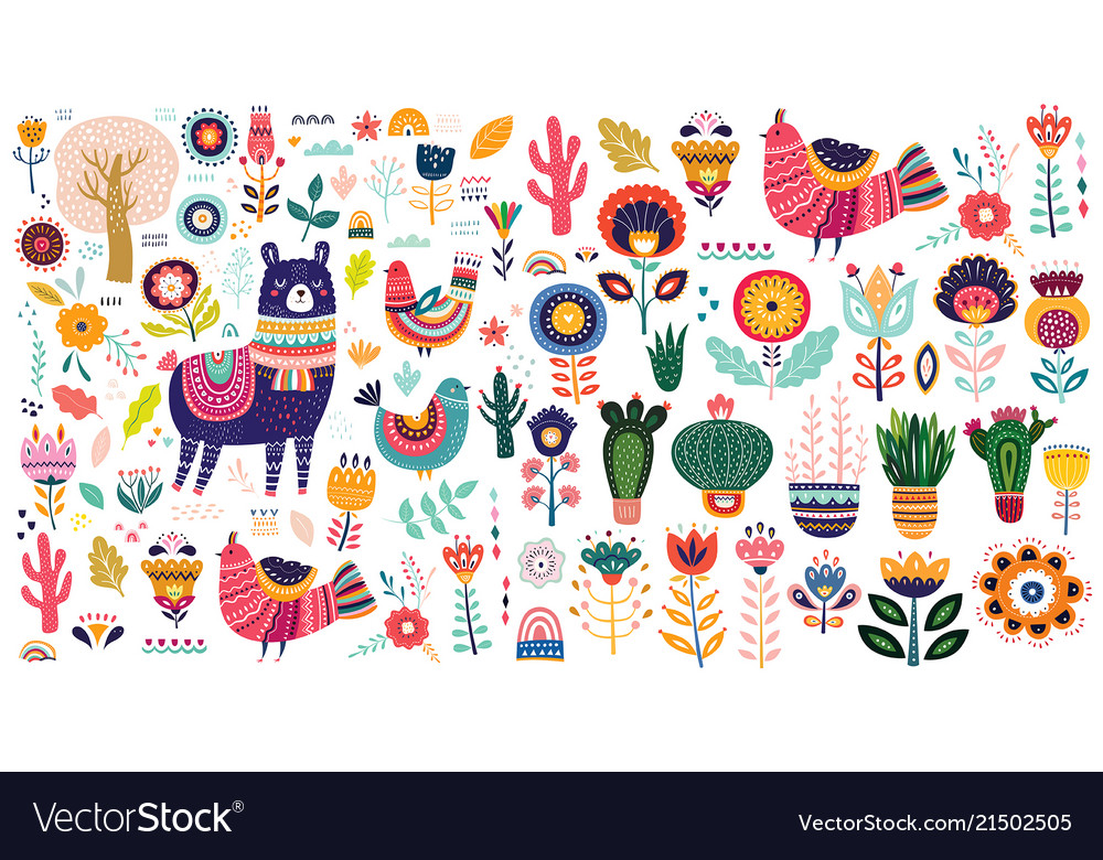 Llama cacti and flowers
