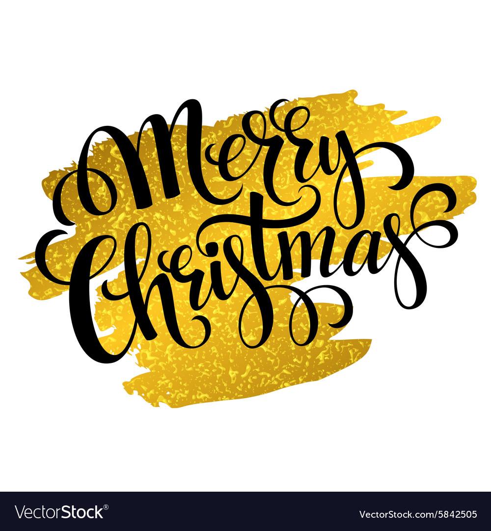 Marry Christmas gold glittering lettering design