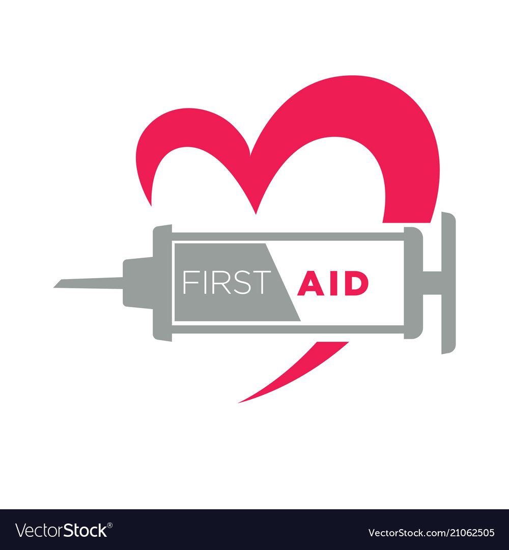 Medical first aid syringe and heart icon