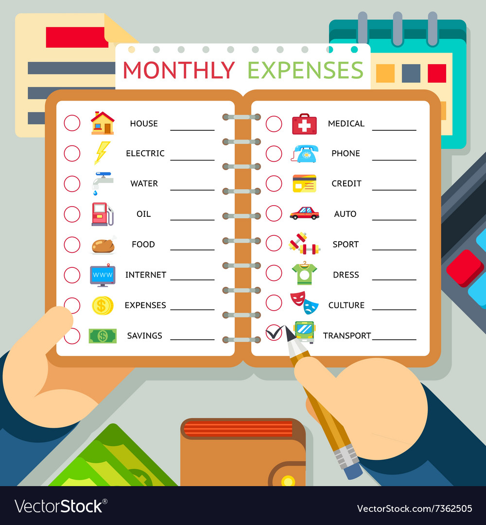 monthly expenses costs and income royalty free vector image