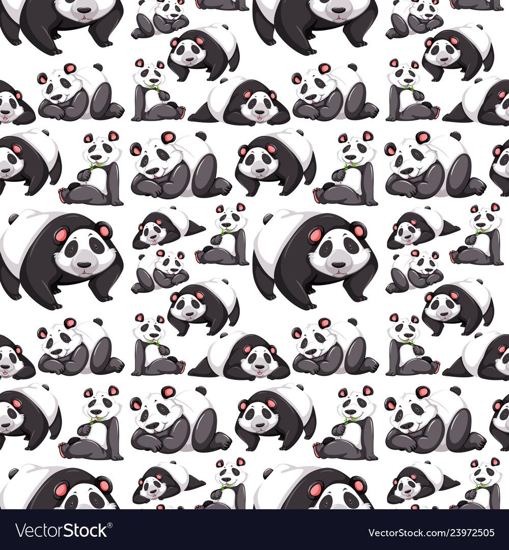Panda seamless pattern wallpaper vector image