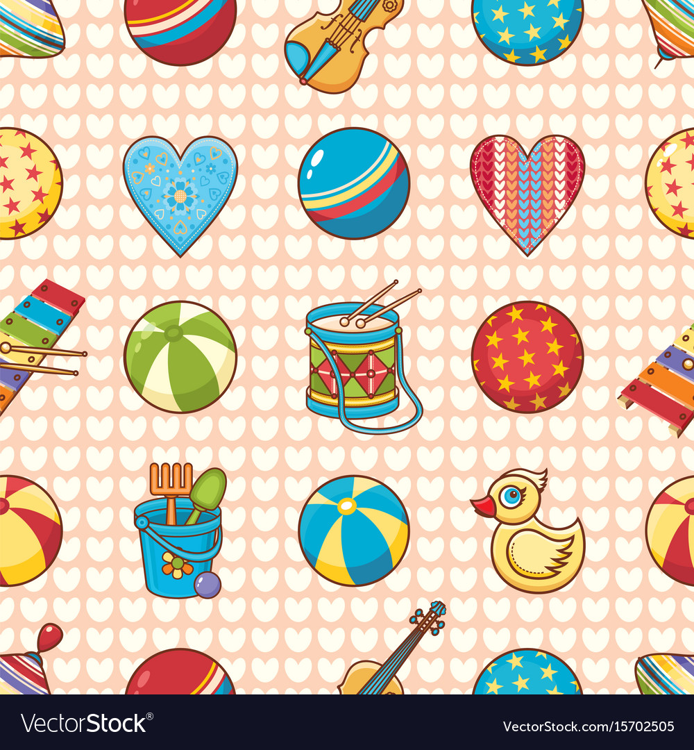 Seamless pattern baby toy cartoon style