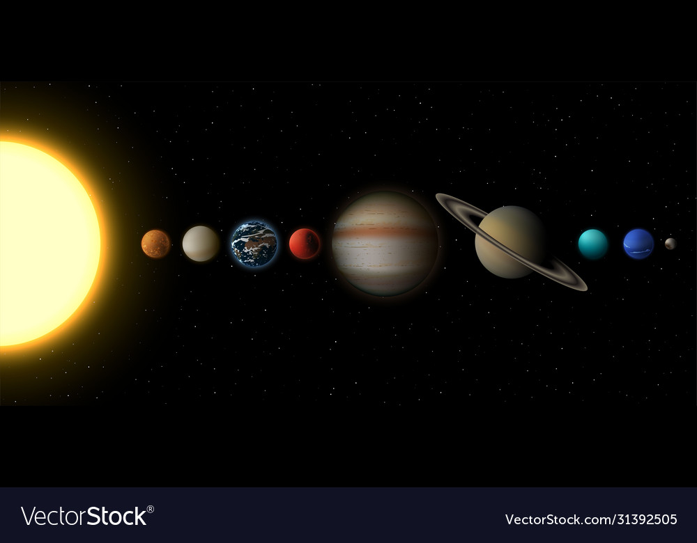 Solar system infographic planets and sun