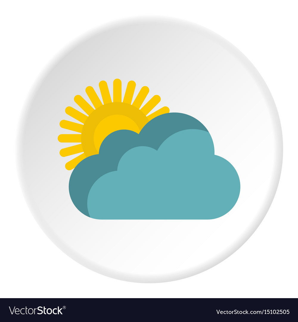Sun behind clouds icon flat style