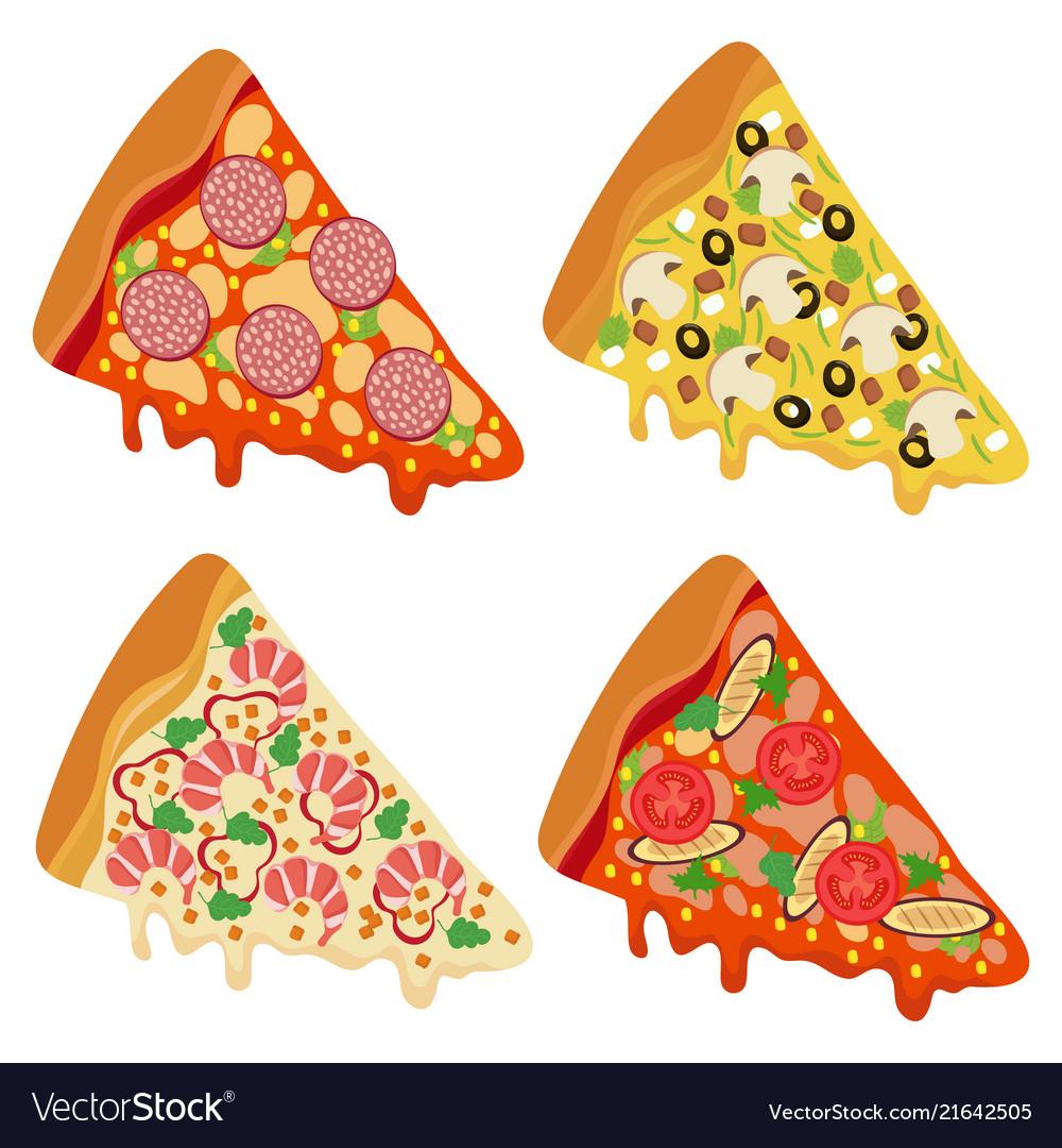 Tasty fresh pizza slices isolated on white