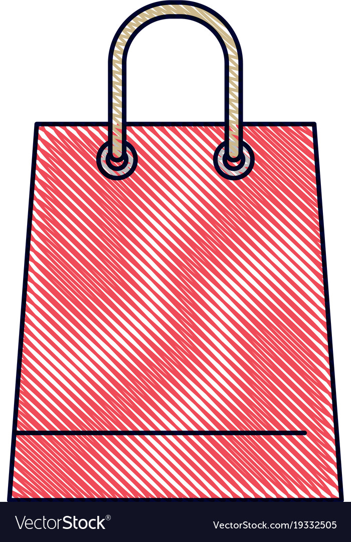 Trapezoid shopping bag icon with handle in colored