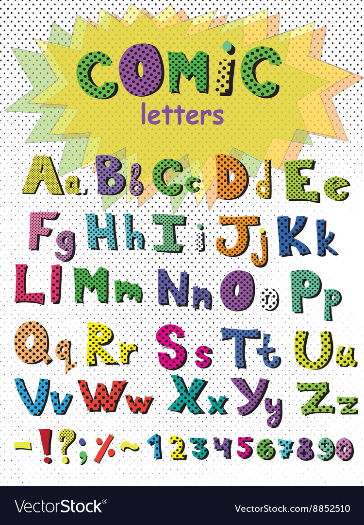 Alphabet in comic style colorful letters