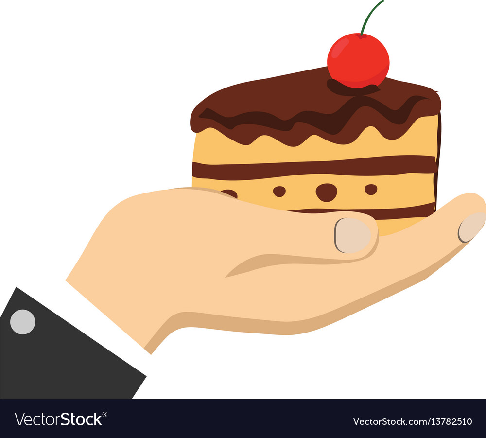 Cartoon hands holding cake