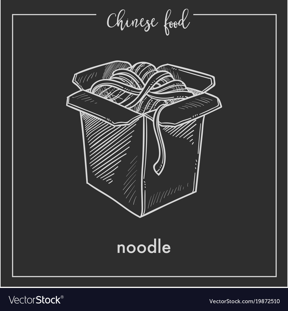Chinese food chalk sketch noodles box for china