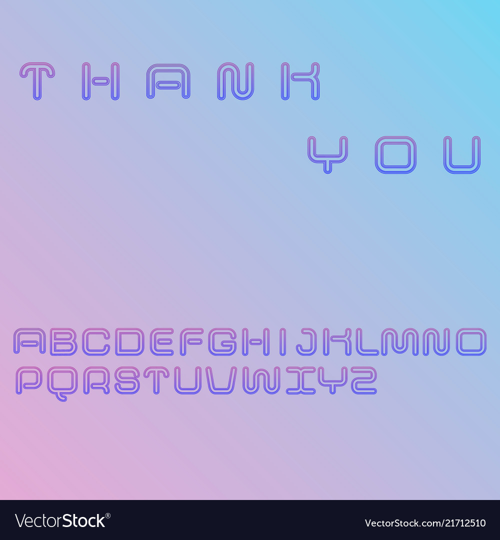Decorative linear font gradient blue and violet
