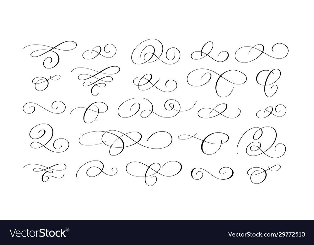 Doodle ink pen calligraphy flourish set