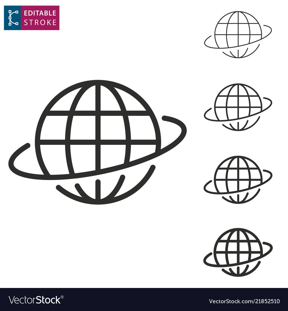 Globe line icon on white background editable
