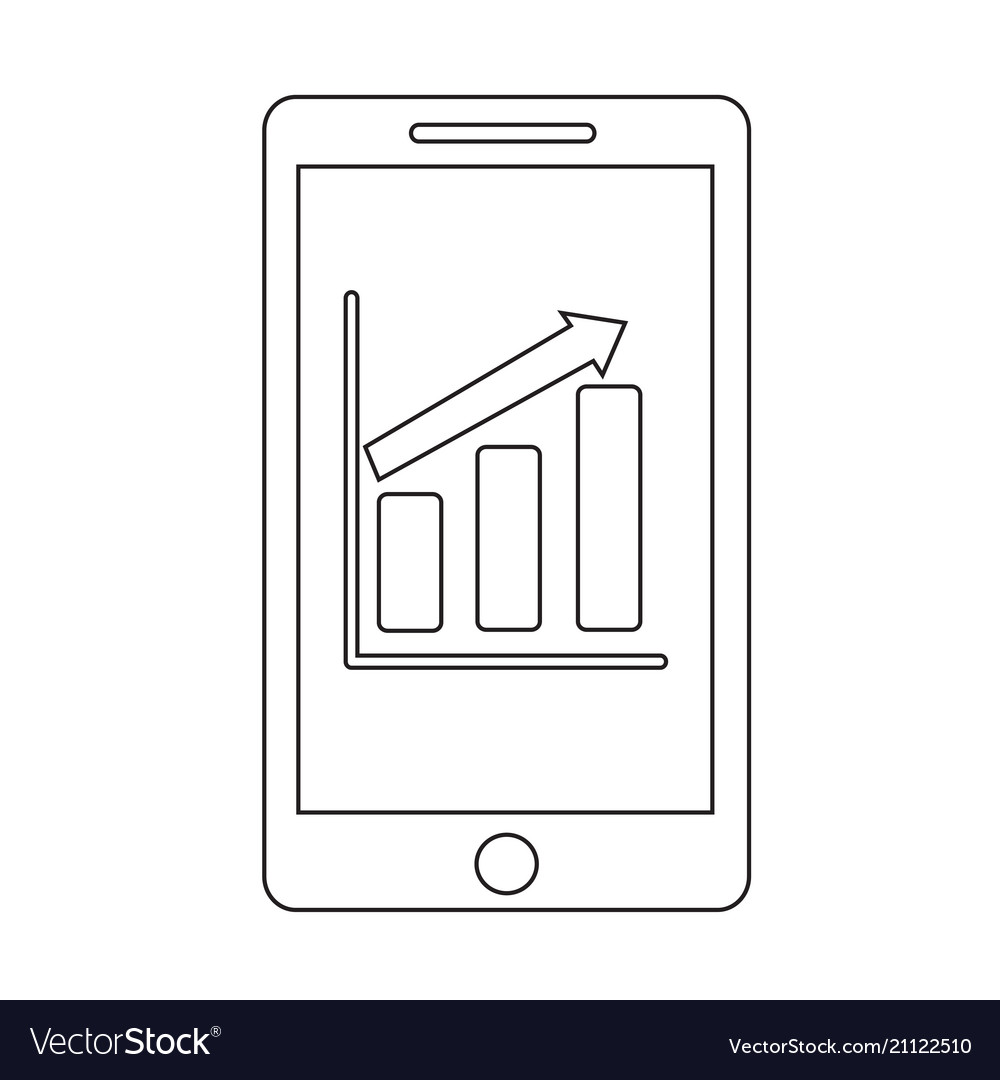 Mobile phone chart infographics icon
