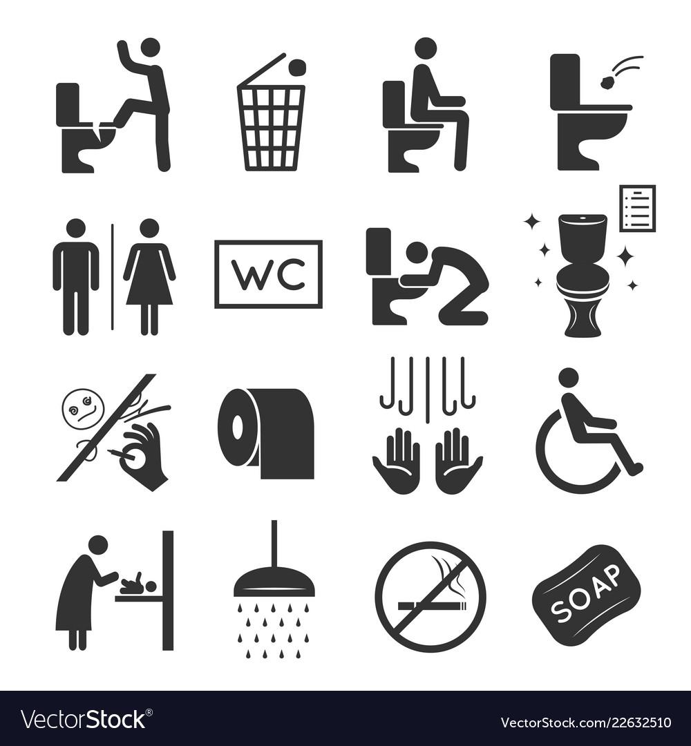 Restroom icon set washroom and bathroom symbols
