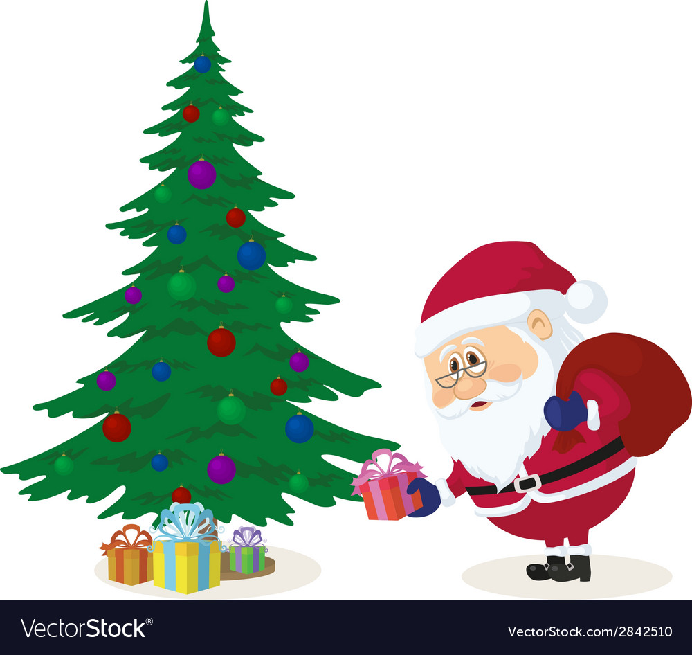 Christmas Presents Under Tree.Santa Claus Putting Gifts Under Fir Tree