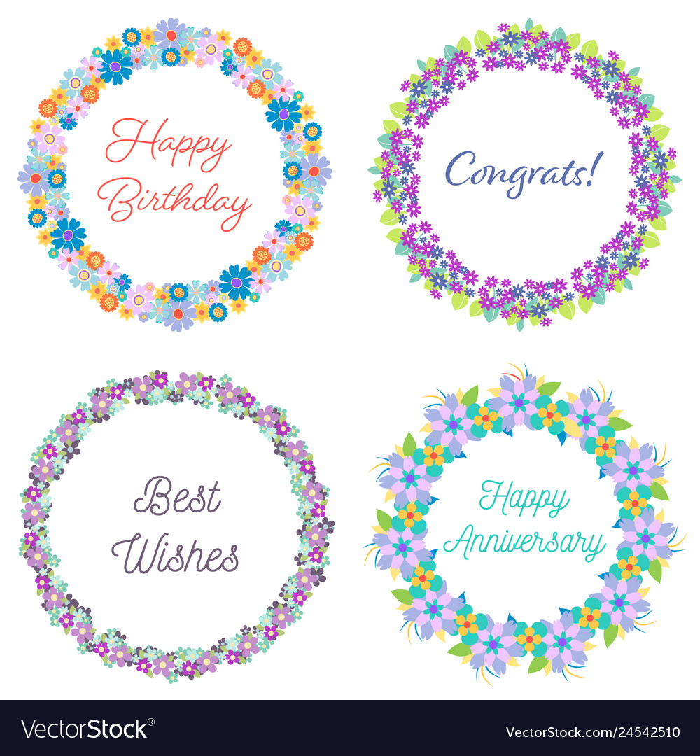 Set of four floral wreaths