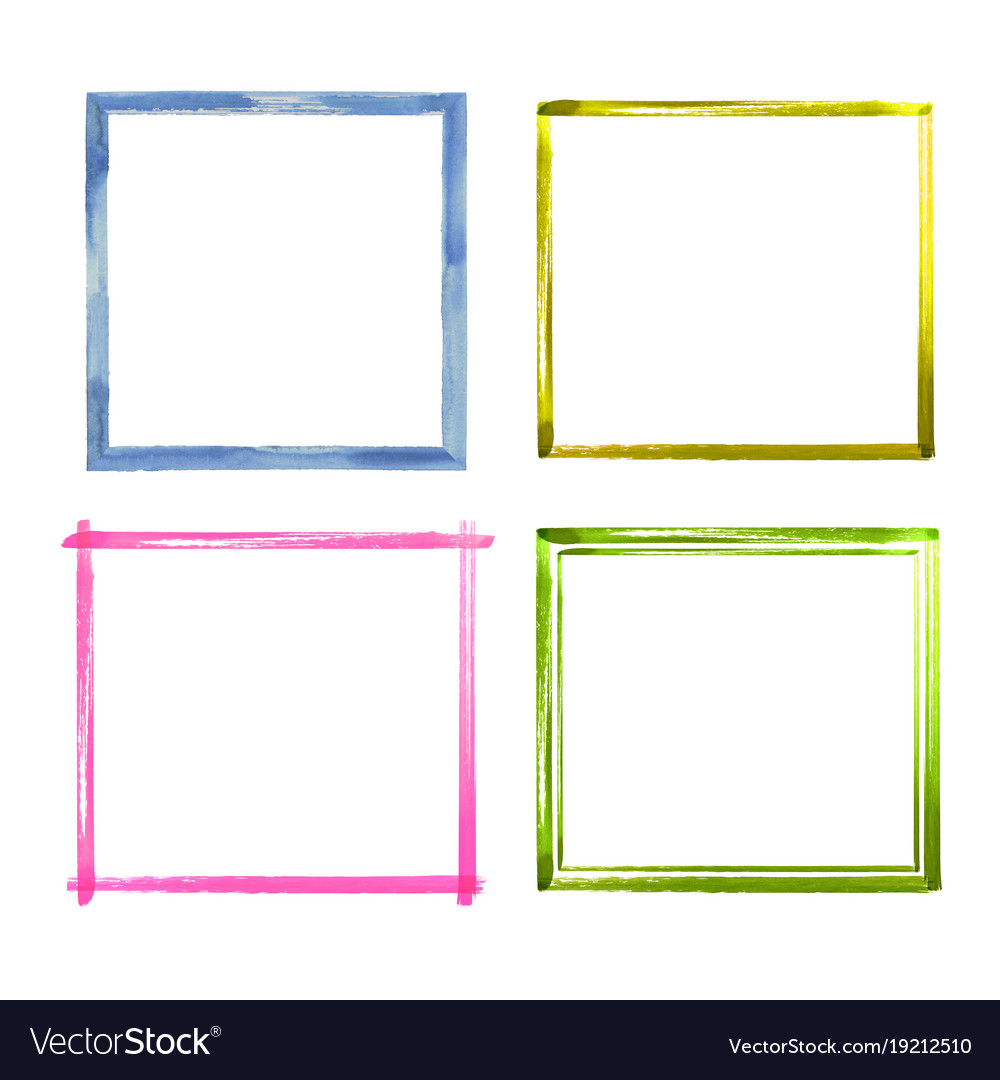 Set of watercolor color grunge frames Royalty Free Vector