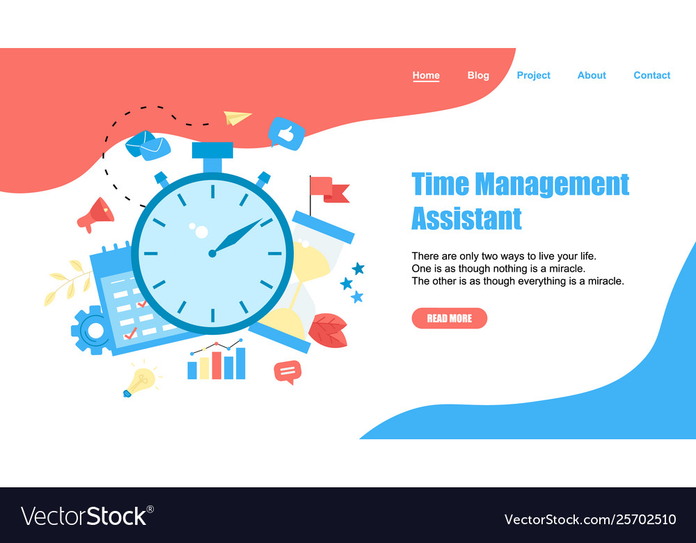 Webpage template time management assistant